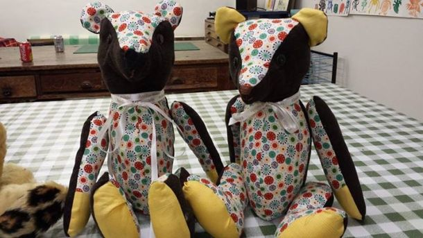 Memory bears made from well loved clothing