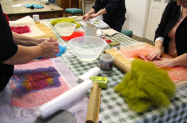 wet felting at Unravel & Unwind