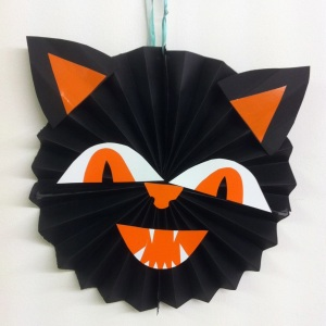 black cat halloween concertina pinwheel decoration