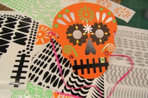 skull mask customised with vinyl stickers