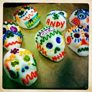 Sugar skulls decorated with colourful icing for Day Of THe Dead