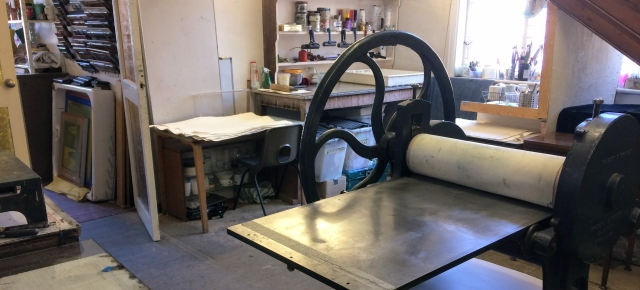 Print room at INTRA, with Rochat etching press