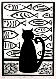 cat watching fish